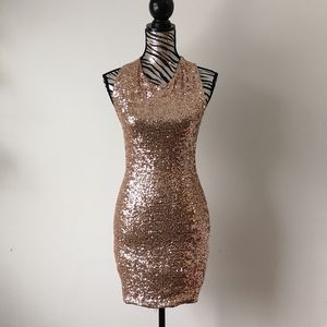 TOPSHOP rose gold sequin mini dress